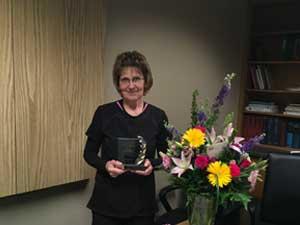 Carole Schulte receiving the Award for Nursing Excellence.