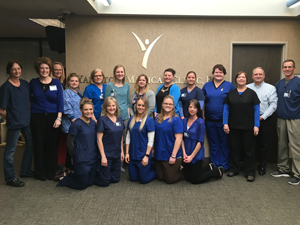 Physicians and employees at Yankton Medical Clinic, P.C. wear blue to raise awareness for colorectal cancer. March is colorectal cancer awareness month.