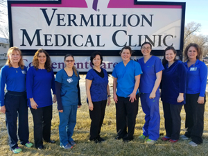 Physicians and employees at Vermillion Medical Clinic, P.C. wear blue to raise awareness for colorectal cancer. March is colorectal cancer awareness month.